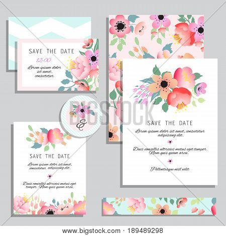 Vintage wedding invitations. Set design template with abstract flowers. Can be used for Save The Date mothers day valentines day birthday cards invitations.