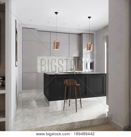 Modern Urban Contemporary Gray Kitchen Interior Design with White Gray Marble and Large Kitchen Island. 3d rendering