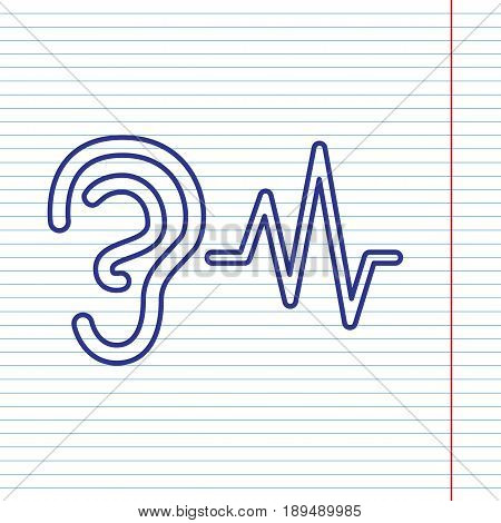 Ear hearing sound sign. Vector. Navy line icon on notebook paper as background with red line for field.