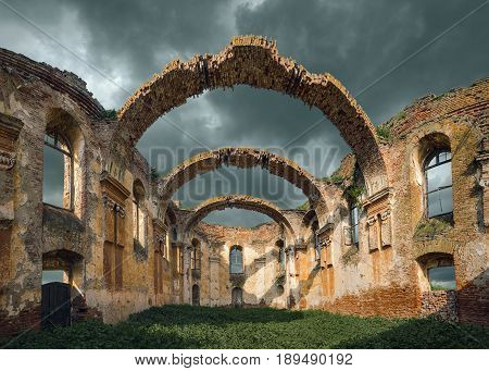 Ruins of church of Holy Spirit in village Kupinovo Serbia was built in 1803. Apocalypse concept.