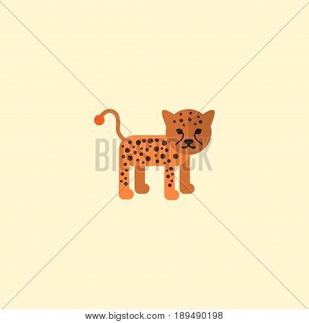Flat Leopard Element. Vector Illustration Of Flat Panther Isolated On Clean Background. Can Be Used As Panther, Leopard And Puma Symbols.