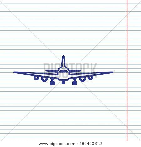 Flying Plane sign. Front view. Vector. Navy line icon on notebook paper as background with red line for field.