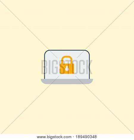 Flat Laptop Element. Vector Illustration Of Flat Lock  Isolated On Clean Background. Can Be Used As Laptop, Lock And Security Symbols.