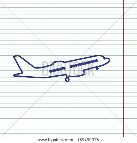 Flying Plane sign. Side view. Vector. Navy line icon on notebook paper as background with red line for field.