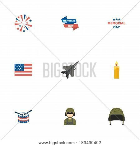 Flat Holiday, Musical Instrument, Aircraft And Other Vector Elements. Set Of Memorial Flat Symbols Also Includes Memorial, Drum, Man Objects.