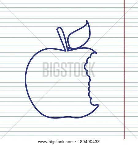 Bite apple sign. Vector. Navy line icon on notebook paper as background with red line for field.