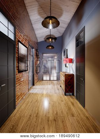 Urban Contemporary Modern Scandinavian Loft Hall Interior Design With Red Brick Wall. 3d rendering