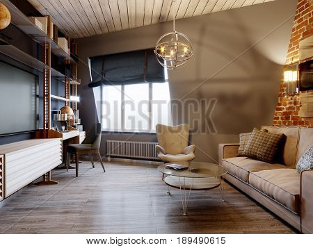 Urban Contemporary Modern Scandinavian Loft Living room Interior Design on Attic With Gray and Red Brick Wall. 3d rendering