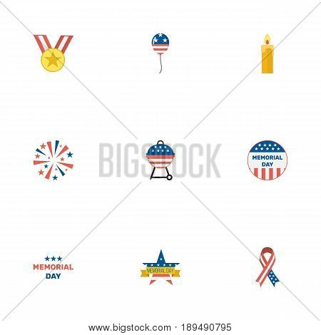 Flat Decoration, Fire Wax, Firecracker And Other Vector Elements. Set Of Memorial Flat Symbols Also Includes Ribbon, Fire, Day Objects.
