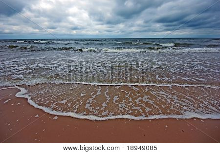 Cloudy sea landscape. Cool, natural colours poster