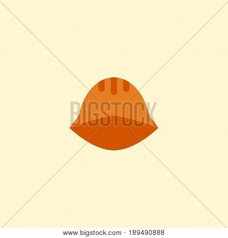 Flat Helmet Element. Vector Illustration Of Flat Hardhat Isolated On Clean Background. Can Be Used As Hardhat, Helmet And Headwear Symbols.