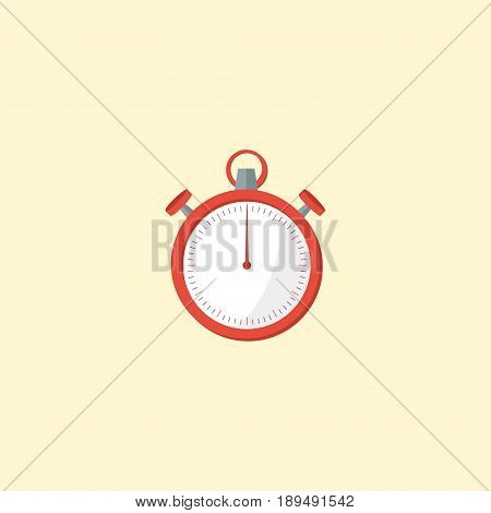 Flat Stopwatch Element. Vector Illustration Of Flat Second Meter  Isolated On Clean Background. Can Be Used As Second, Meter And Stopwatch Symbols.