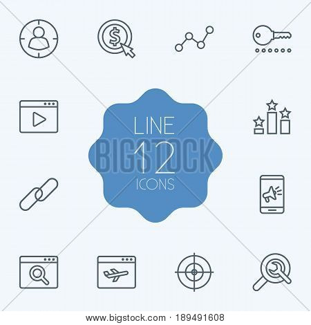 Set Of 12 Search Outline Icons Set.Collection Of Targeting, Url, SEO Test And Other Elements.