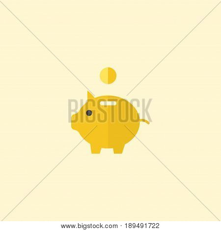 Flat Piggy Bank Element. Vector Illustration Of Flat Money Box Isolated On Clean Background. Can Be Used As Piggy, Savings And Money Symbols.