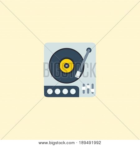 Flat Gramophone Element. Vector Illustration Of Flat Turntable Isolated On Clean Background. Can Be Used As Gramophone, Turntable And Vinyl Symbols.