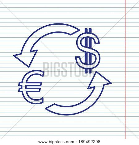 Currency exchange sign. Euro and US Dollar. Vector. Navy line icon on notebook paper as background with red line for field.
