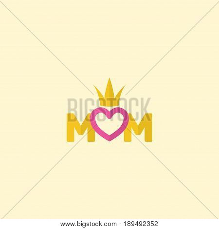 Flat Text Element. Vector Illustration Of Flat Queen Isolated On Clean Background. Can Be Used As Queen, Mom And Text Symbols.