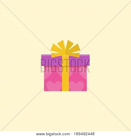 Flat Gift Element. Vector Illustration Of Flat Present Isolated On Clean Background. Can Be Used As Gift, Present And Ribbon Symbols.