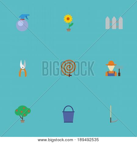 Flat Fence, Bucket, Cutter And Other Vector Elements. Set Of Gardening Flat Symbols Also Includes Fruiter, Hosepipe, Secateurs Objects.