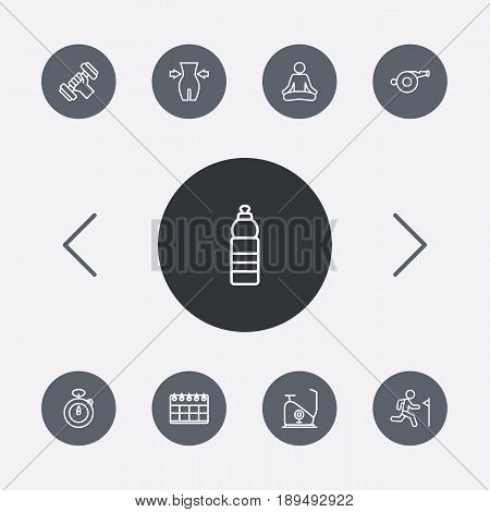 Set Of 9 Fitness Outline Icons Set.Collection Of Yoga, Training, Stopwatch And Other Elements.