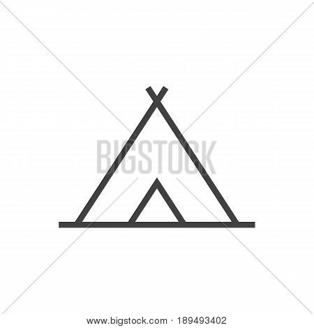 Isolted Tent Outline Symbol On Clean Background. Vector Shelter Element In Trendy Style.