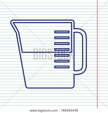 Beaker sign. Vector. Navy line icon on notebook paper as background with red line for field.