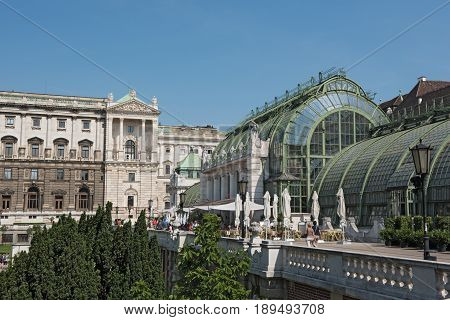 Butterfly house and new castle at Burggarten, Vienna, Austria