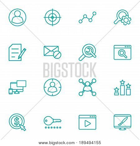 Set Of 16 Optimization Outline Icons Set.Collection Of Web Design, Block, Keywords And Other Elements.