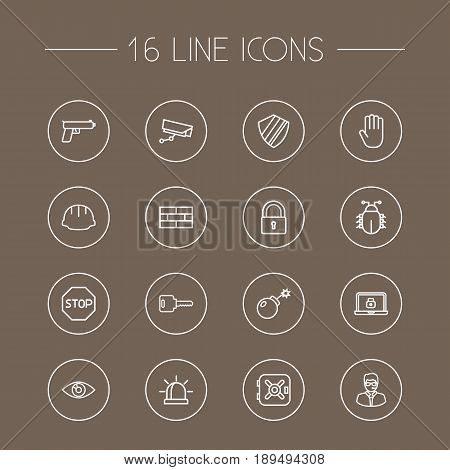 Set Of 16 Procuring Outline Icons Set.Collection Of Virus, No Entry, Weapon And Other Elements.
