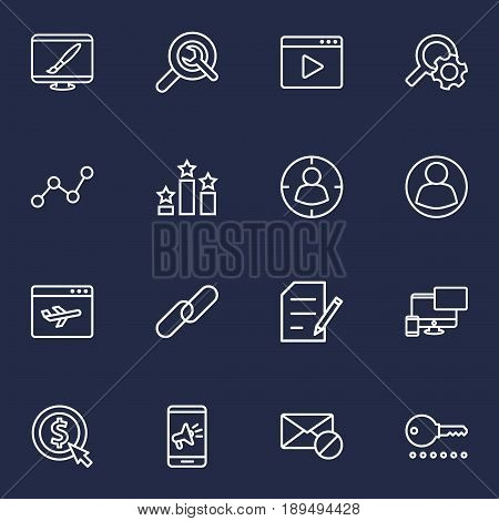 Set Of 16 Optimization Outline Icons Set.Collection Of Guest, Home, Url And Other Elements.