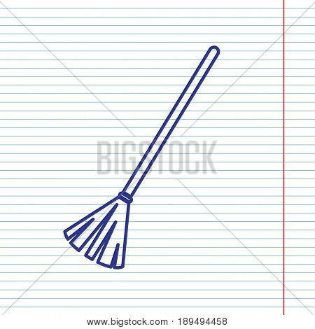 Sweeping broom sign. Vector. Navy line icon on notebook paper as background with red line for field.