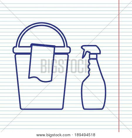 Bucket and a rag with Household chemical bottles. Vector. Navy line icon on notebook paper as background with red line for field.