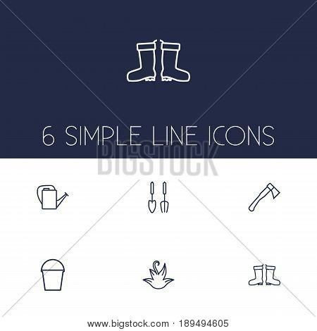 Set Of 6 Farm Outline Icons Set.Collection Of Bailer, Waterproof Shoes, Hatchet And Other Elements.