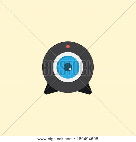 Flat Camera Element. Vector Illustration Of Flat Web Cam Isolated On Clean Background. Can Be Used As Web, Camera And Broadcast Symbols.