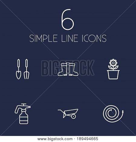 Set Of 6 Farm Outline Icons Set.Collection Of Atomizer, Barrow, Firehose And Other Elements.