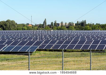 Power plant with solar panels seen in Germany