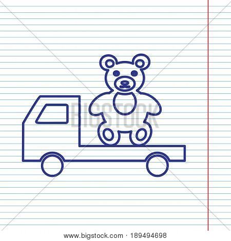Truck with bear. Vector. Navy line icon on notebook paper as background with red line for field.