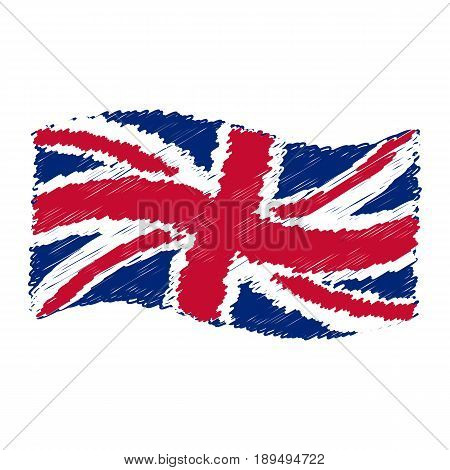 UK flag - Union Jack - grunge pencil drawing sketching isolated vector illustration