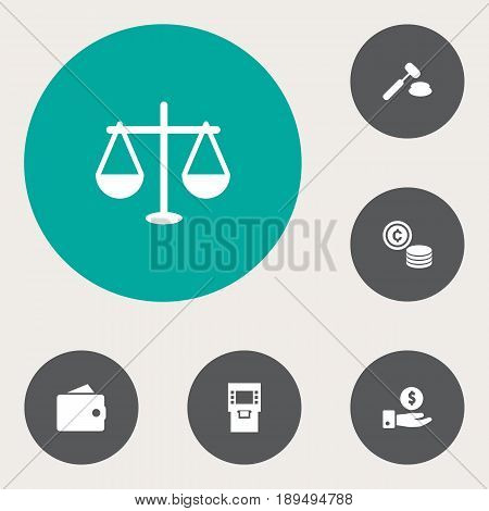 Set Of 6 Finance Icons Set.Collection Of Save Money, Cash, Judge And Other Elements.