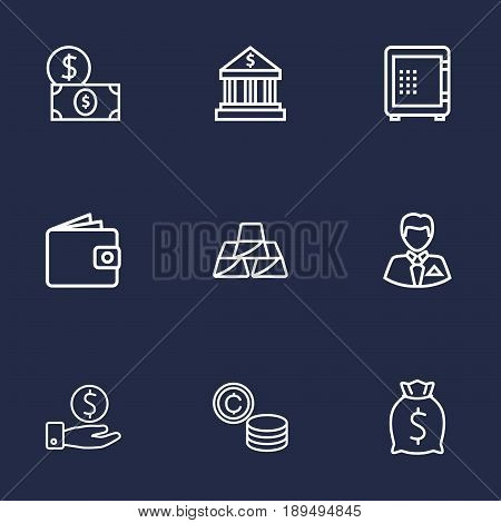 Set Of 9 Finance Outline Icons Set.Collection Of Moneybag, Golden Bars, Dollar And Other Elements.