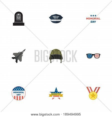 Flat Hat, Medallion, Aircraft And Other Vector Elements. Set Of Day Flat Symbols Also Includes Memorial, Aircraft, Plane Objects.