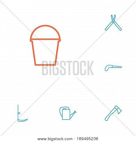 Set Of 6 Household Outline Icons Set.Collection Of Bailer, Arm-Cutter, Shears And Other Elements.