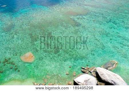 Clear turquoise seawater at the beach - bird eye view