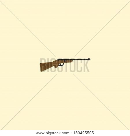Flat Hunting Rifle Element. Vector Illustration Of Flat Weapon Isolated On Clean Background. Can Be Used As Gun, Weapon And Rifle Symbols.