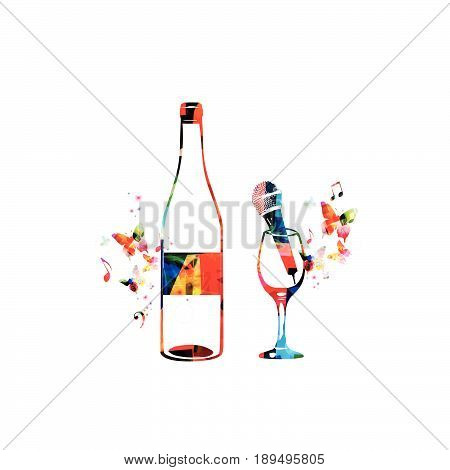 Colorful bottle and wineglass with microphone isolated vector illustration. Background for restaurant poster, restaurant menu, music events, live music, karaoke party and festivals
