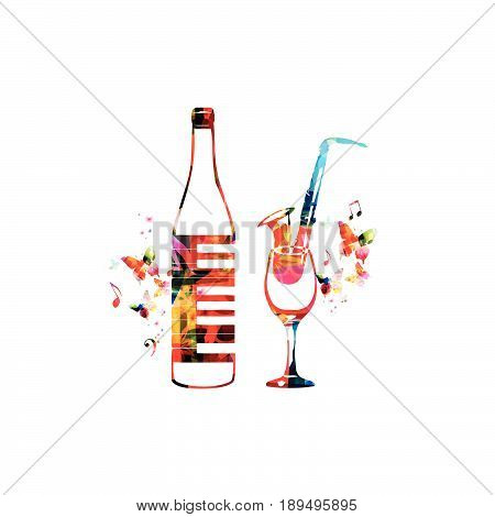 Colorful bottle with piano keyboard and wineglass with saxophone isolated vector illustration. Background for restaurant poster, restaurant menu, music events, live music, party and festivals