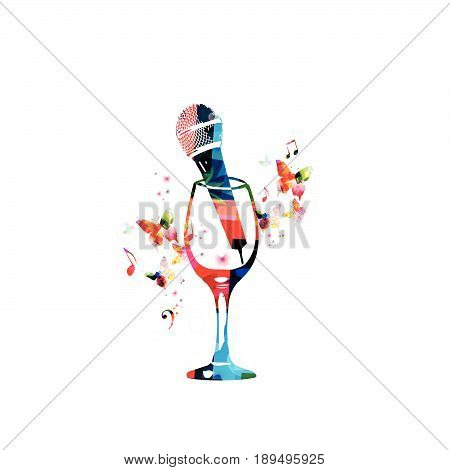 Colorful wineglass with microphone and music notes isolated vector illustration. Background for restaurant poster, restaurant menu, music events, live music, karaoke party and festivals