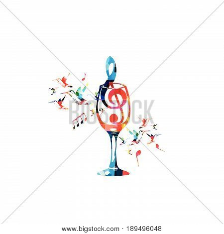 Colorful wineglass with G-clef and music notes isolated vector illustration. Background for restaurant poster, restaurant menu, music events and festivals