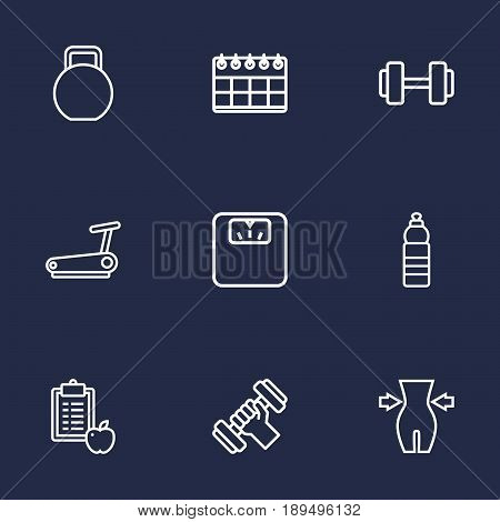 Set Of 9 Training Outline Icons Set.Collection Of Water Bottle, Scales, Weight Loss And Other Elements.