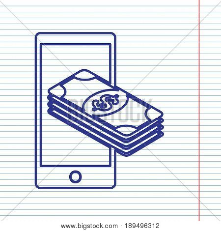 Payment, refill your mobile smart phone, . Vector. Navy line icon on notebook paper as background with red line for field.